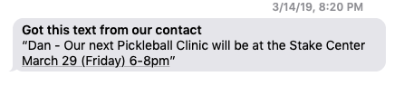 Jordan's first text message invitation to learn how to play pickleball